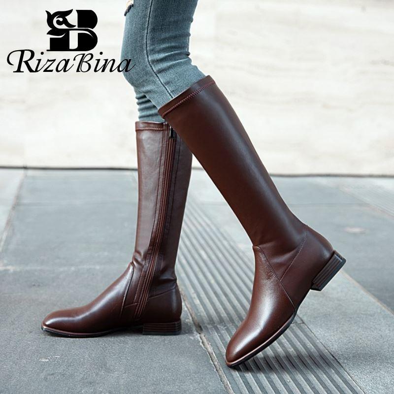 RIZABINA Hohe Qualität Echtes Leder Schuhe Kniehohe Stiefel quadratische Zehe-Reißverschluss Ridding Stiefel Coole Schuhe Solide Schuhe Größe 34-40