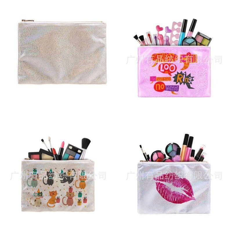 Sencillez Organizador Sublimación en blanco 16 * 23 cm Bolsas de almacenamiento Nueva Moda Conveniente Accesorios Cosméticos Mujer Contenedor 8 36P K2
