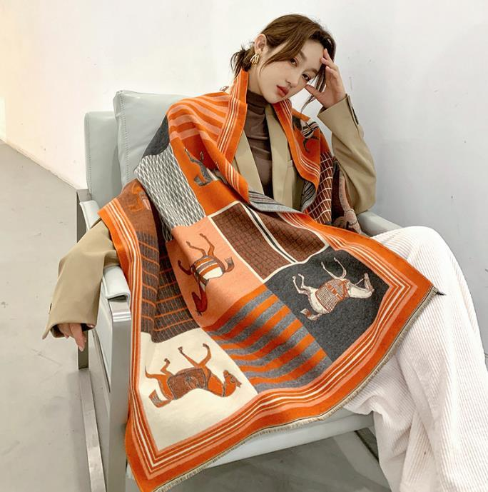 2020 Inverno Cachecol Mulheres Cashmere Scarf New Moda Quente Foulard Lady Cavalo Lenços Multicolor macio e espesso Xailes Wraps