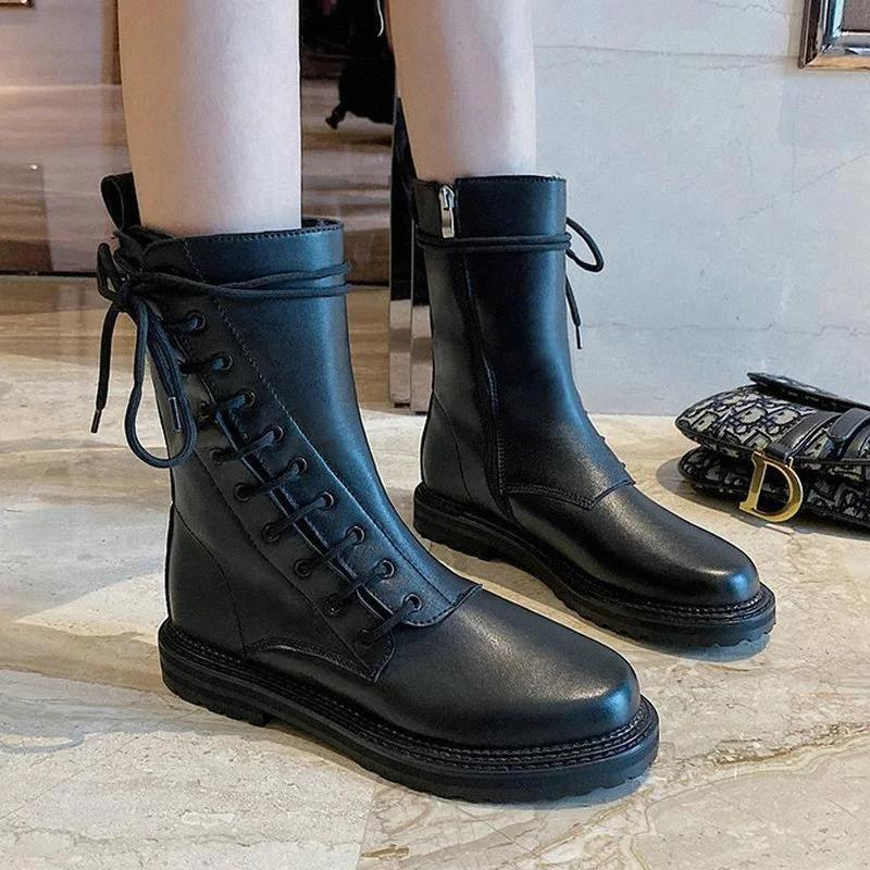 Size 35-40 2020 New Fashion Women's Boots Autumn Cross Tied Vintage Shoes Woman Flat Heels Female Platform Ankle Rain Boot #8c70
