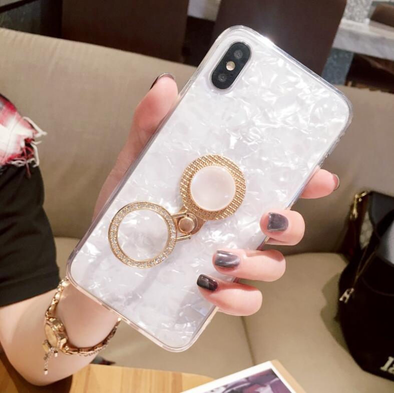 Case Cover marmo caldo placcatura Telefono lucido con supporto dell'anello per iPhone 11Pro XS MAX XR X 7 6 Plus