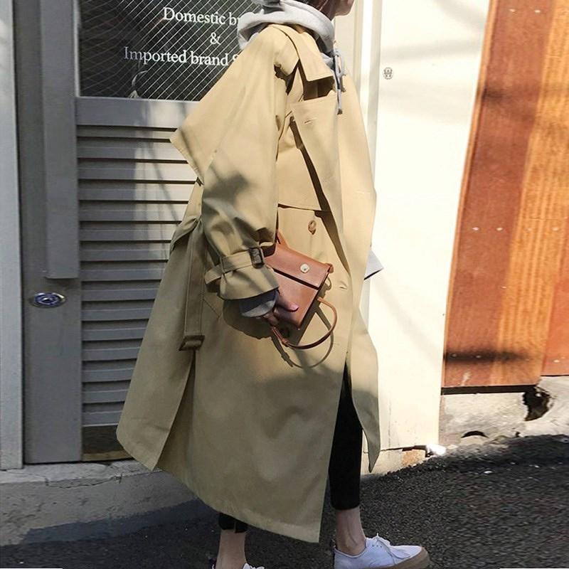 Damskie płaszcze wiosenne Moda Khaki Luźne Sashes Elegang Double Breasted Long Coat Kobiety Wczesna jesień Odzieży Wierzchniej Wiatrówka MW769