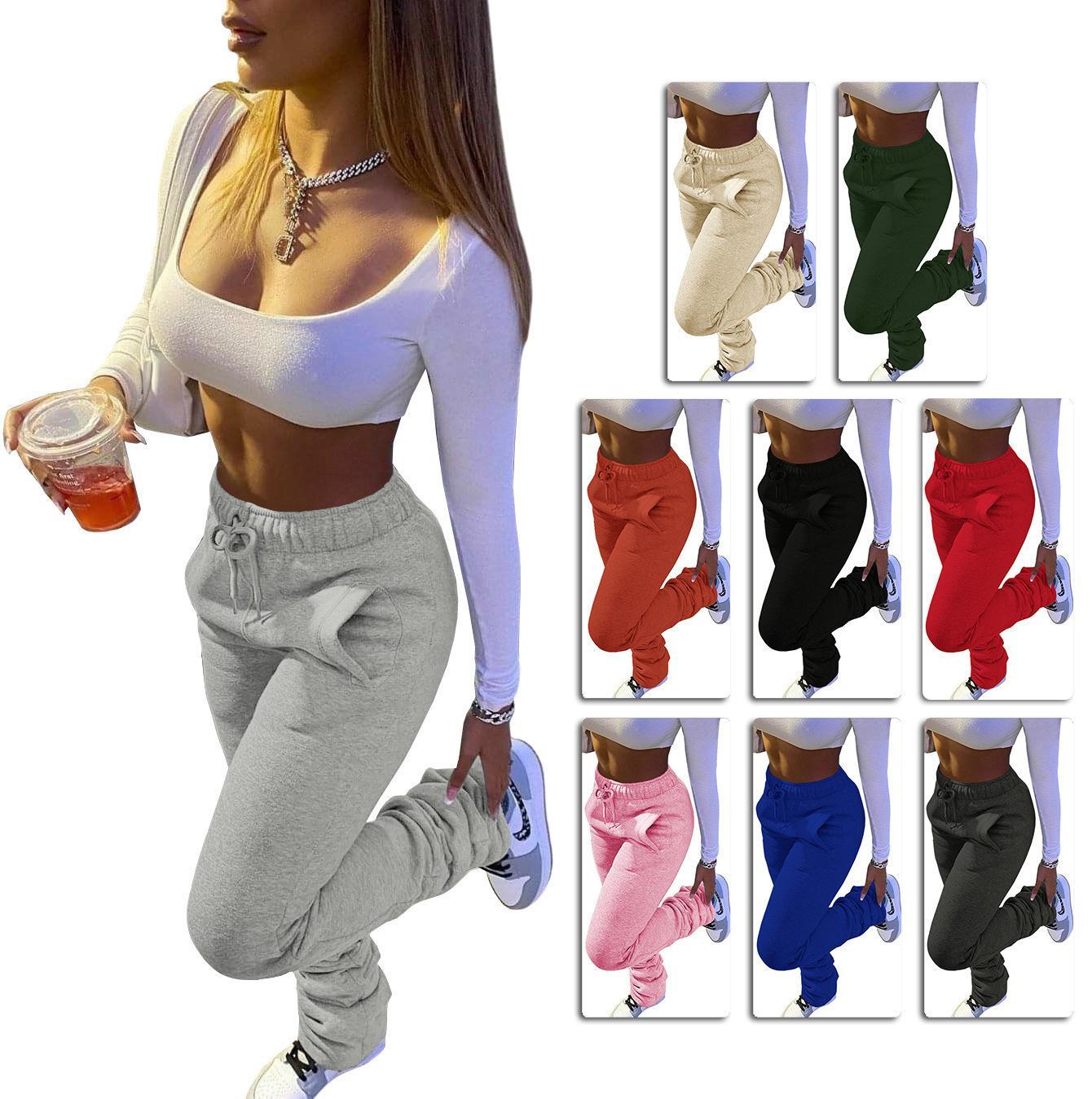 여성 바지 솔리드 컬러 트랙스 무거운 스웨터 패브릭 스포츠 캐주얼 Drawstring 스택 바지 주머니와 패션 레깅스