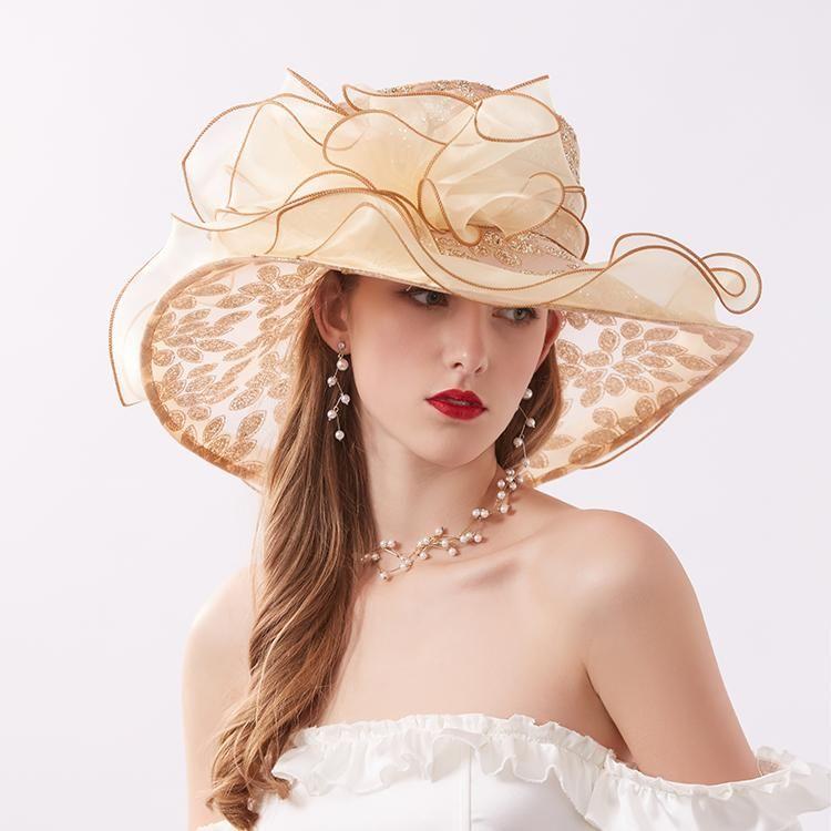Mulheres Verão Malha Chiffon Lantejoula Chapéus de Sun