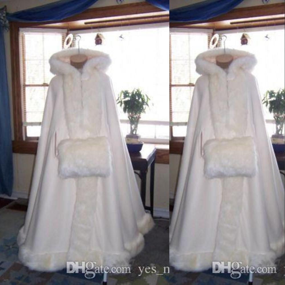 싼 romatic 진짜 이미지 두건을 쓴 신부 케이프 아이보리 흰색 긴 결혼식 망토 가짜 모피 겨울 결혼식 신부 랩 신부 망토 플러스 사이즈