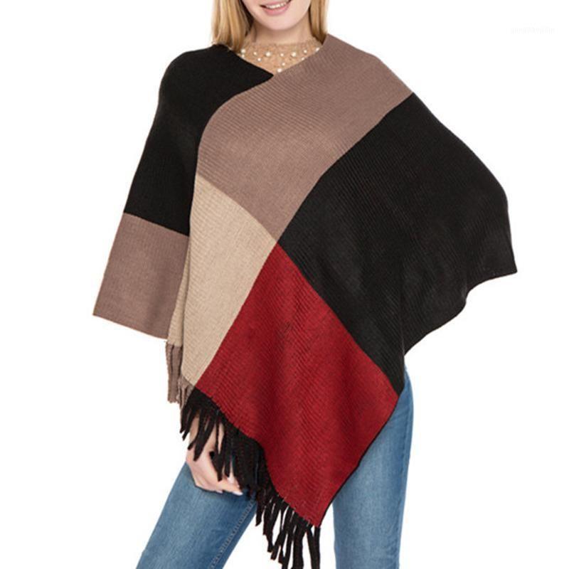 Mulheres tricotadas suéter outono inverno tassel envoltório feminino patchwork aquecido balanço batwing capa praia wear1