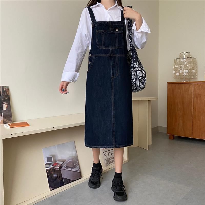 pvC15 Otoño 2020 nueva women'sthe Xb falda recta skirtshoulder estudiantes coreanos vestido del hombro denim tubo holgado y thinstudent fashio vestido