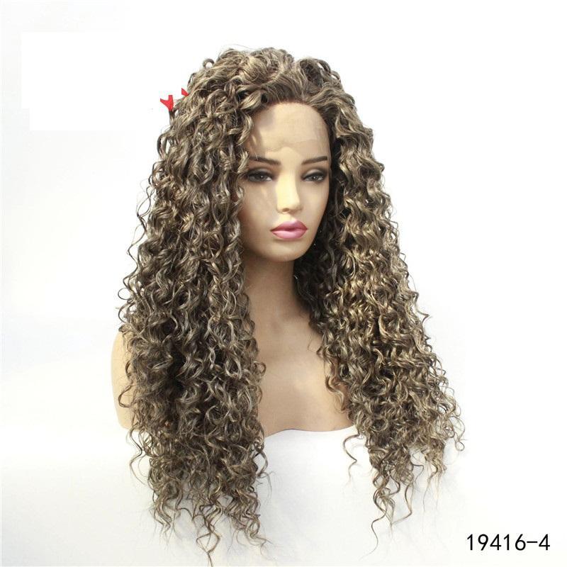 Sentetik Saç Peruk Uzun Dalga Gri Renk Simülasyon İnsan Saç Kadınlar Için Yumuşak İpeksi Peruk Shuow25647
