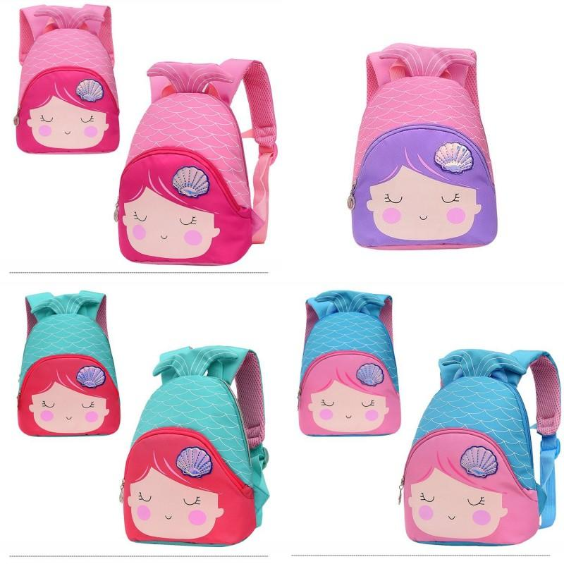 Shell Mermaid Scale Backpacks Niños Escuela Pequeñas bolsas Bebé Niños Niña Niña Kindergarten Mochila Hombro Princesa Dibujos animados al aire libre 15 4py G2