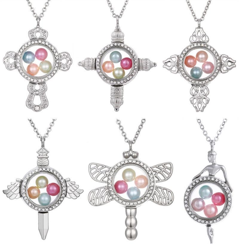 Collar de la medallón flotante Los colgantes se pueden abrir Memoria de vidrio imán de cristal cruzados de dragón para la joyería de bricolaje para hacer accesorios de la caja de la foto 9 99AYB