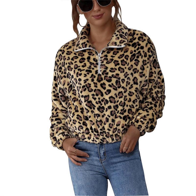 Women Stylish Long Sleeve Pullover Hoodies Tops Fashion Warm Leopard Zipper Tops Sweatshirts for Female Hoodies Sweatshirts