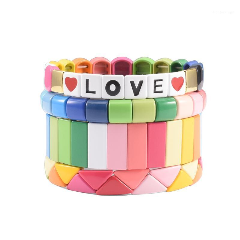 LOVE Hematite Rainbow Beads Bracelet Set Wrist Cuff Lawyer Jewelry Handmade Stackable Honeycomb Bracelet for Sister Woman Gift1