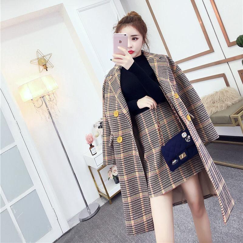 Costume, femelle 2020 NOUVEAU automne rétro long lâche robinet à carreaux à carreaux à carreaux à carreaux jupe en deux pièces