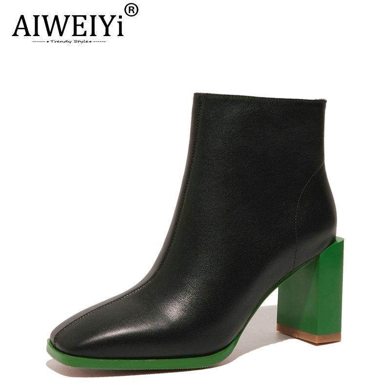 Aiweiyi stivali in vera pelle da donna mescolare la piattaforma di colore moto stivali moto primavera autunno donne equitazione botas mujer