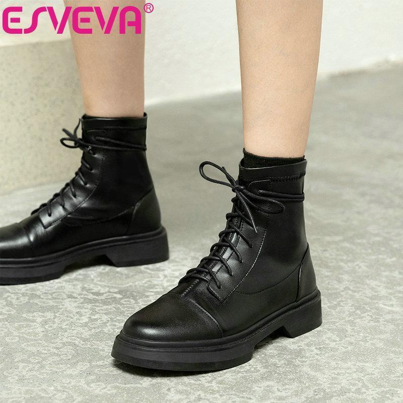 ESVEVA 2021 Lace Up Flock+Leather Ankle Boots Women Boots Winter Women Shoes Round Toe Fashion Low Heel Size 34-421