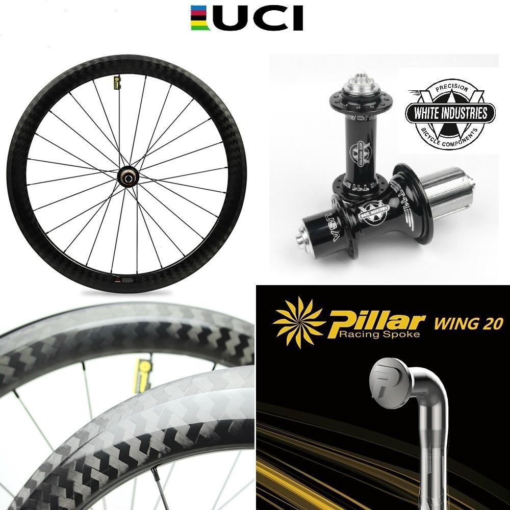 700c de carbono bicicleta roda estrada bicicleta wheelset com branco indústrias t11 hub pilar asa 20 raios leves de peso
