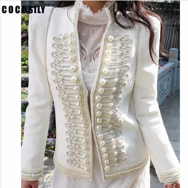 Vintage mujer chaqueta abrigo ropa de otoño stand-collar pesado perla botón traje chaquetas Outwear de manga larga Lady Coats Top1