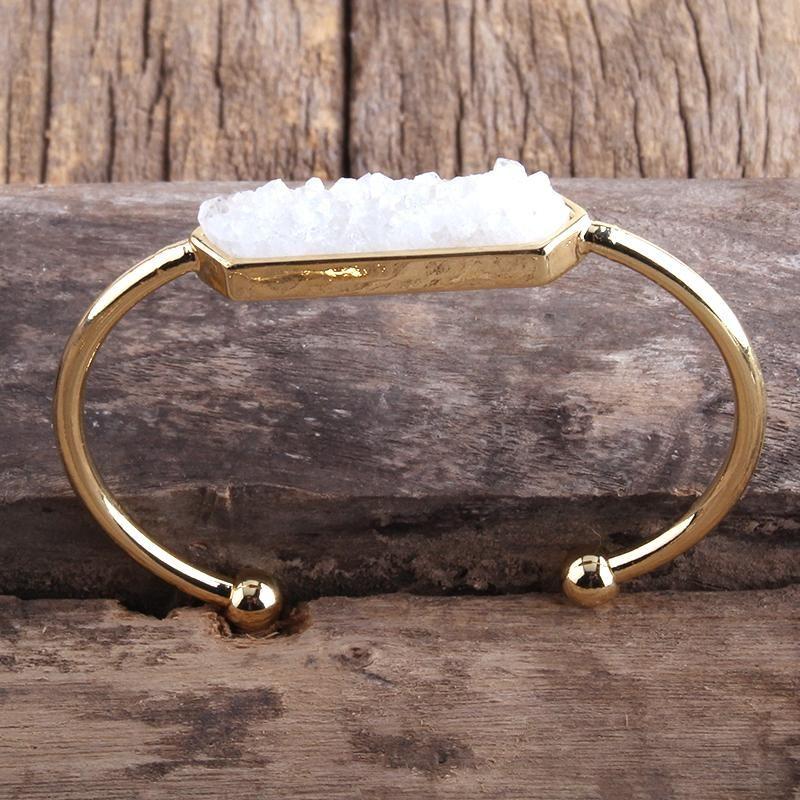 Md moda boho jóias pedra natural druzy medalha pulseiras pulseiras para mulheres pulseiras de pedra