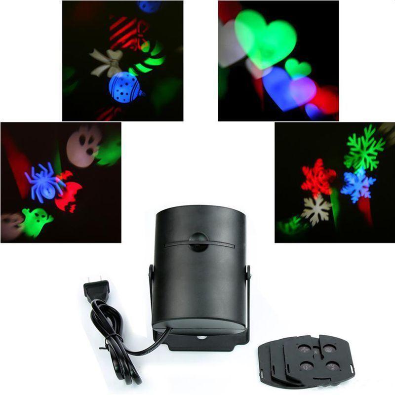 LED-Bühneneffekte Licht Multi-Color Laser Beleuchtung Umzug RGB Projektionsleuchten Urlaub Whit 2 stücke Umschaltbare Muster Linse Weihnachten Halloween Party Dekoration