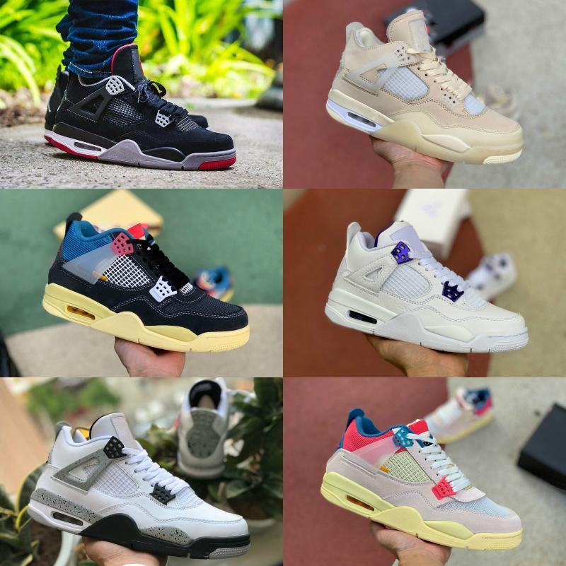 Продажа 4 4S Баскетбольные Обувь Мужчины Женщины Новый Крем Парус У белого цемента Выросший суд Фиолетовый Союз La Guava Ice Rasta Грибная спортивная обувь D52
