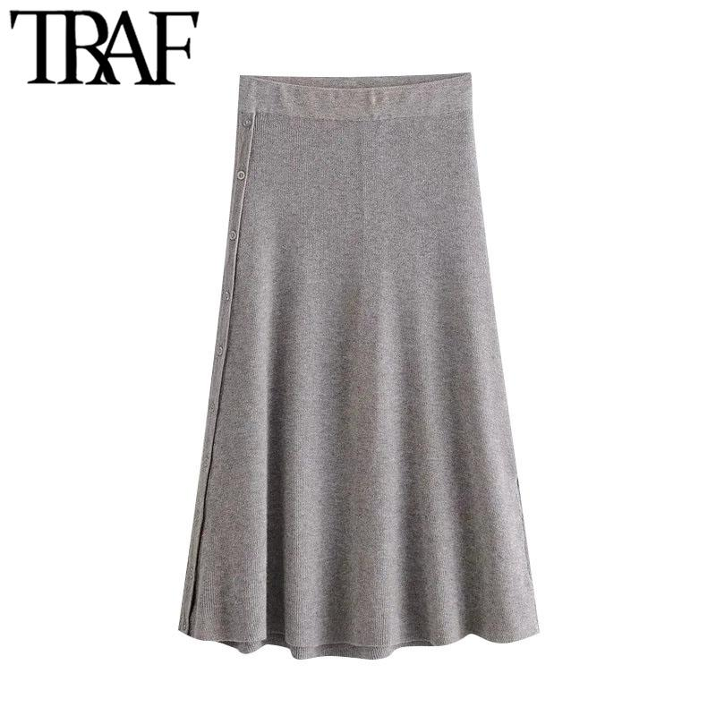 TRAF Women Chic Fashion With Buttons Knitted Midi Skirt Vintage High Elastic Waist Office Wear Female Skirts Mujer Q1229