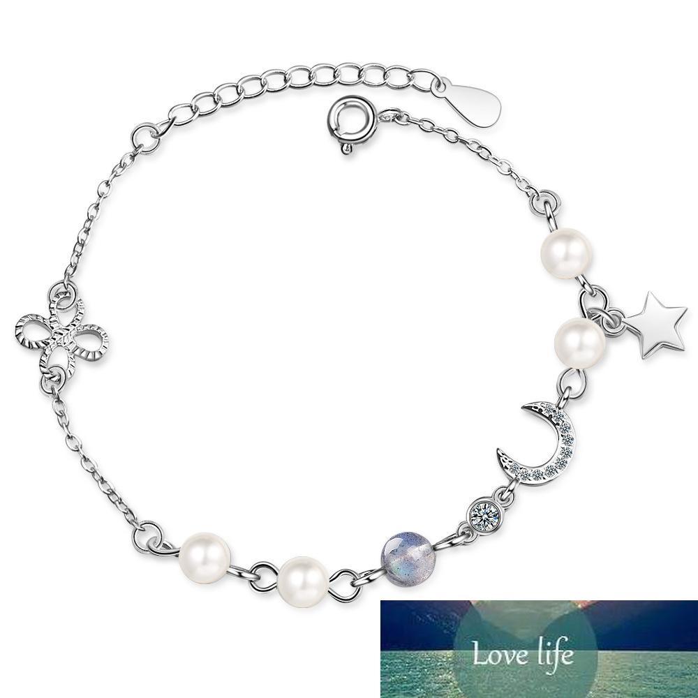 100% 925 Ayar Gümüş Zarif Ay Yıldız Opal Inci Bayanlar Bilezik Kadınlar Için Orijinal Takı Doğum Günü Hediyesi Hayır solmaya