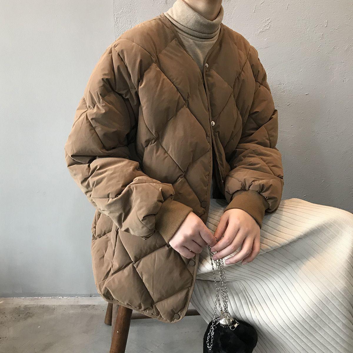 HXJJP Women Winter Coat Korean Version Cotton Outerwear Women Diamond-shaped Plaid Loose Warm Jackets Clothing Female 201015