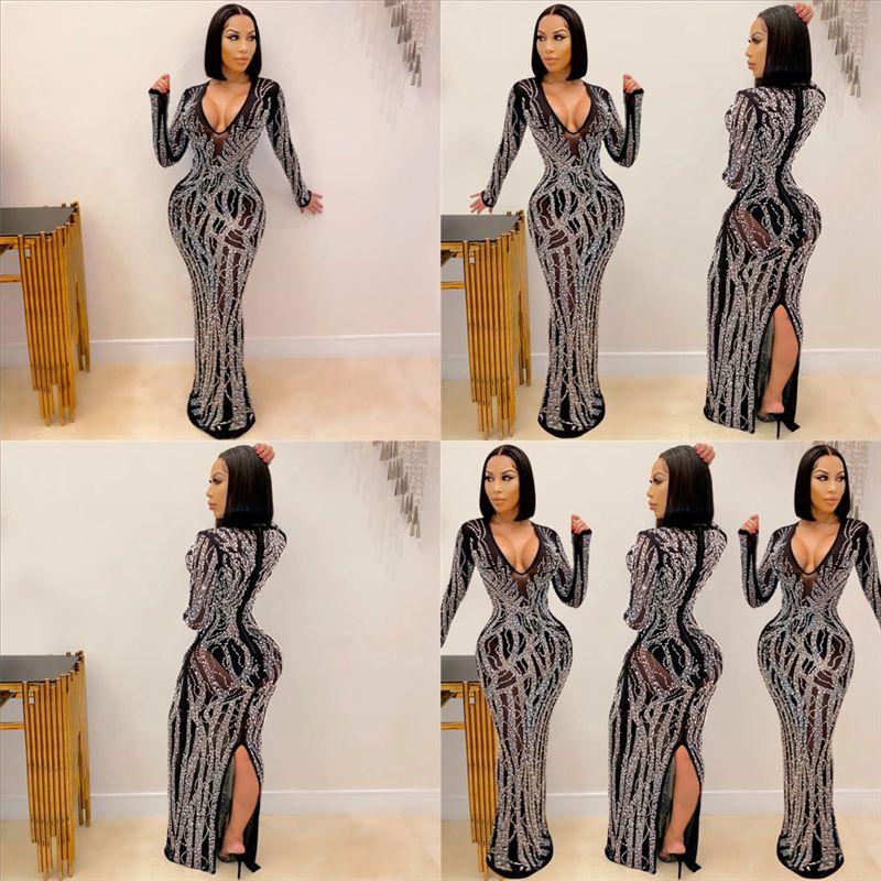 QW9Z Côté Split Hiver Sexy Modycon Robe Robe de cou d'automne Sexy Casl À Manches longues Casual Robe de perçage HOT HOT Robe Femme Black Club