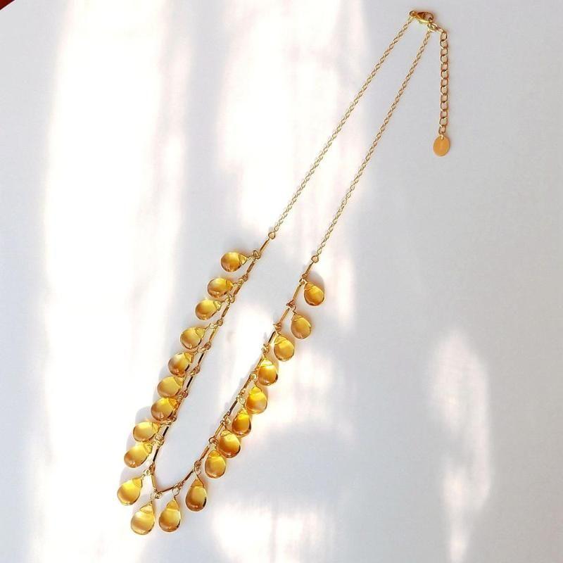 Lii Ji Natürliche Citrine 14k Gold Gefüllte Halskette Echt Stein Luxuriöser Feinschmuck für Partyschmuck