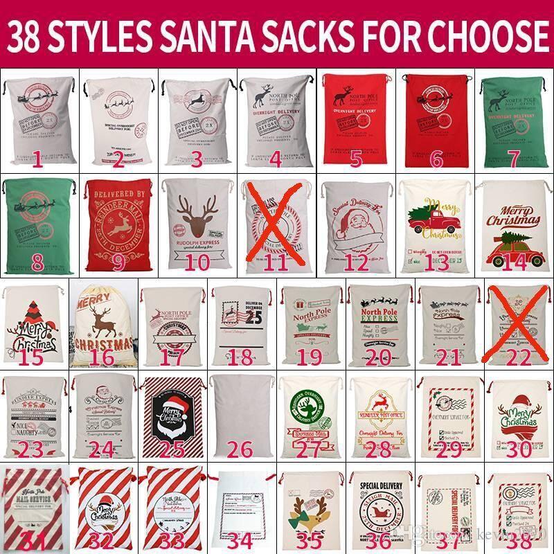 Canvas Christmas Sants Bag Large Drawstring Candy Bags Santa Claus Bag Xmas Santa Sacks Gift Bags For Christmas Decoration 08