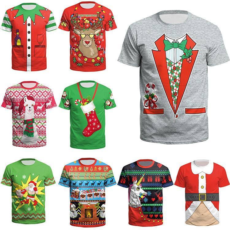Woman T-shirts Plus Size Men Graphic T Shirts Short Sleeve Christmas Printed O-Neck T-Shirt Tops Women 2020