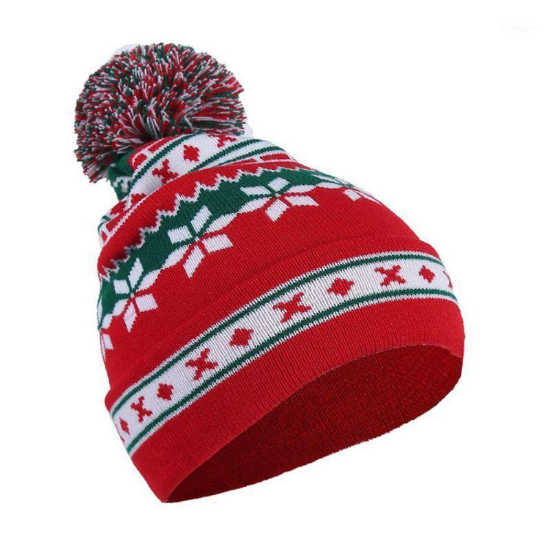 Рождественские украшения 2021 мужская женская снежинка полосатая печать шерсть шар вязаная шапка осень зима