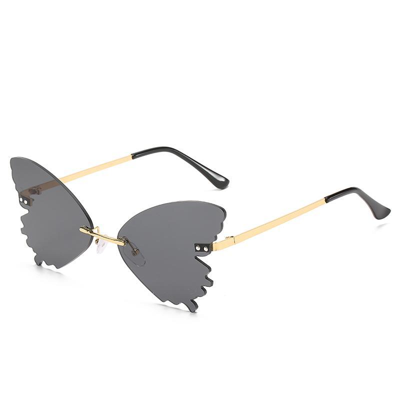 Luxo Longkeeper Butterfly Óculos De Sol Sem Rimes Mulheres Designer De Moda Steampunk Steampunk Sunglasses Vintage Óculos UV400