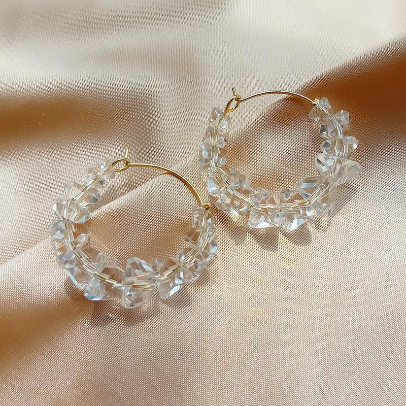Sveglio elegante trasparente di cristallo del cerchio orecchini per le donne geometrica Circle Boucle d'oreille gioielli regalo 2020 nuovo arrivo