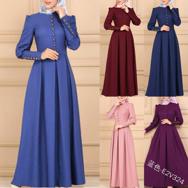 Turquia Dubai Muçulmano Vestido Longo Mulheres Grande Balanço A-Linha Abaya Caftan Kimono Roupas Islâmicas Elbise Marroquino Kaftan Hijab Vestidos