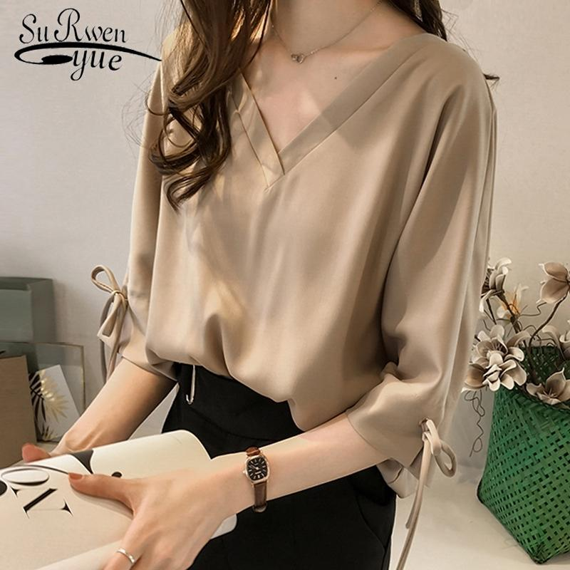 Casual Plus Size 3XL 4XL Summer Tops Solid V Collar Collar OL Blouse Blusa Moda Donna Camicette Chiffon Camicetta Camicetta Camicia Donne Top 1034 40 201201