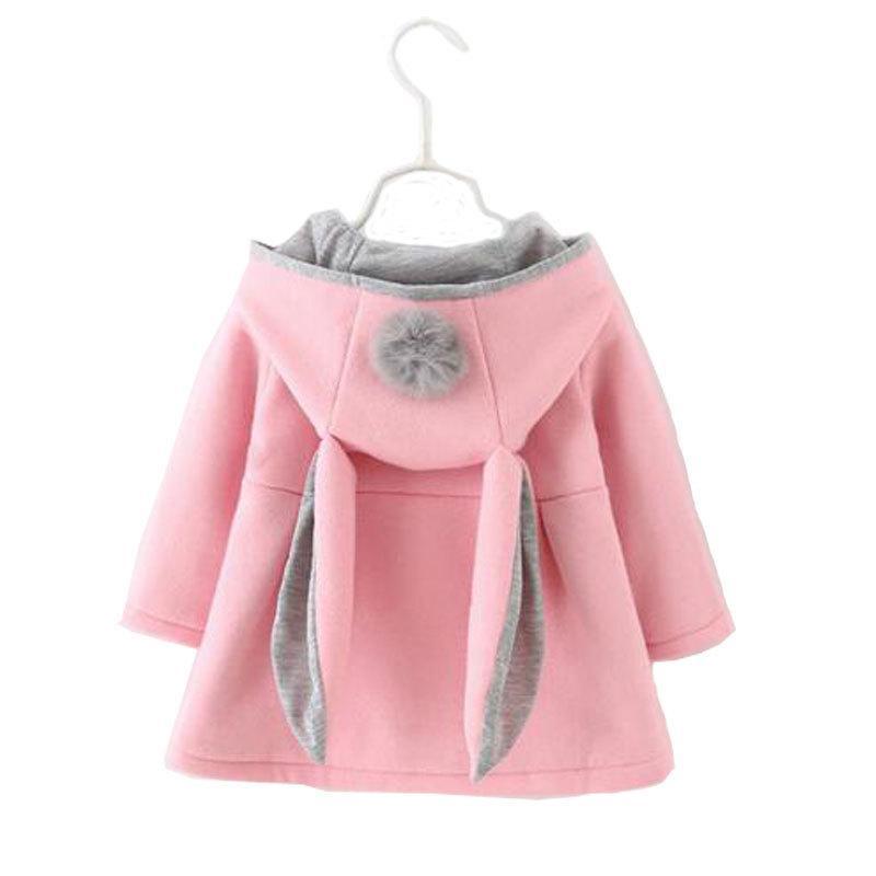mont Q1103 dış giyim bebek giyim kız marka Tavşan kulak için Bahar Kız bebek giysileri Kıyafet Günlük Spor kapüşonlu ceket Coats