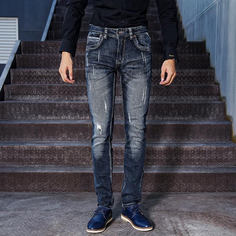 İtalyan Stili Moda Erkek Jeans Retro Siyah Mavi Slim Fit Ripped Jeans Yüksek Kaliteli Vintage Tasarımcı Denim Uzun Pantolon Hombre