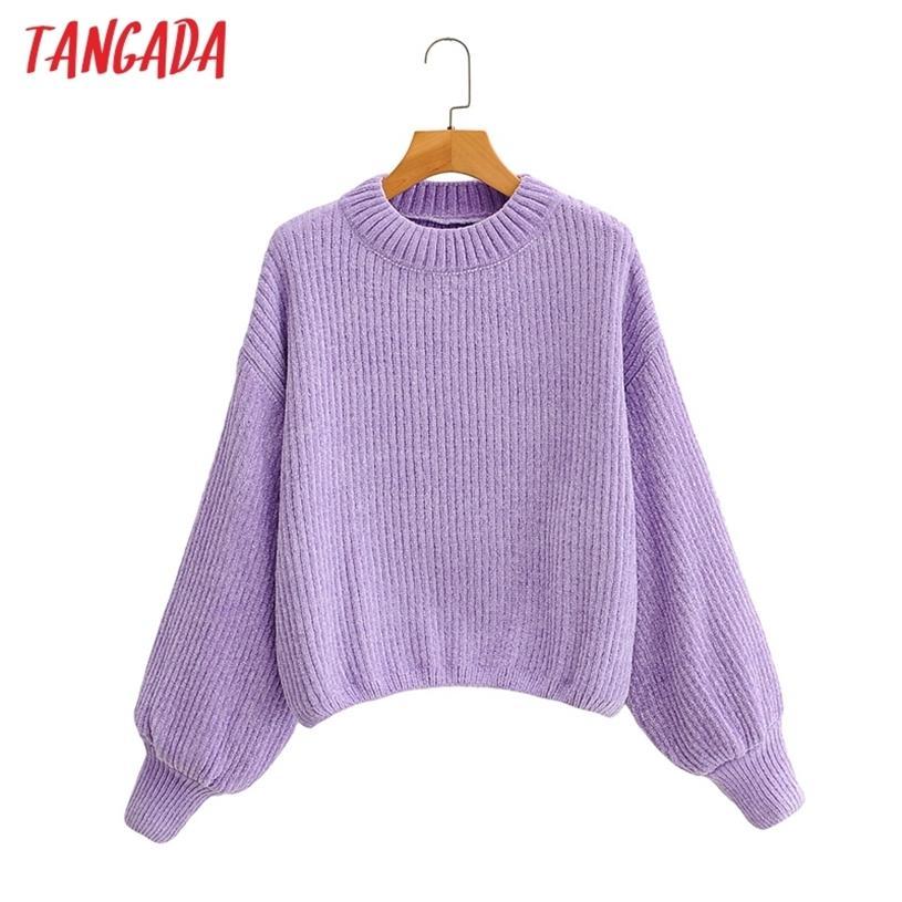 Tangada donna moda elegante viola maglia maglia maglione jumper o collo femminile oversize pullover chic top 1F205 201223