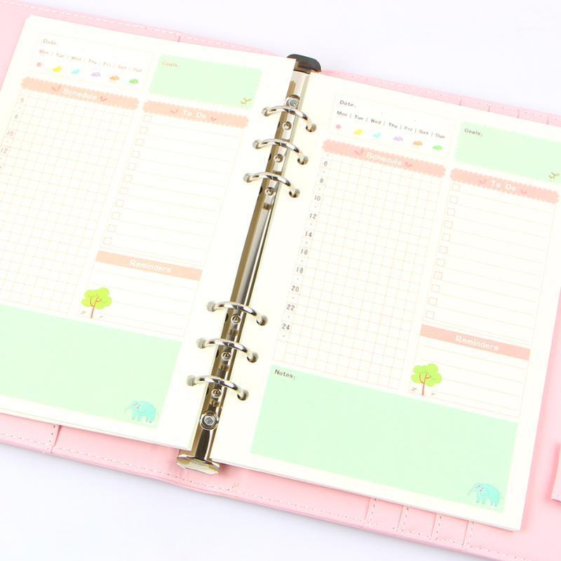 المفكرة الصيف لطيف سلسلة دفتر الحشو الصحف A5 / A6 اللون الداخلي الأساسية مخطط داخل صفحة هدية القرطاسية التخطيط كتيب هدية