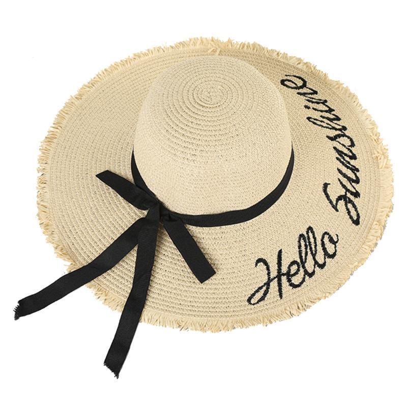 Женщины кемпинга ВС Cap Море Лето Регулируемое Бич Широкий Брим Открытый Straw Hat Письмо вышивки Walking Bowknot ленты