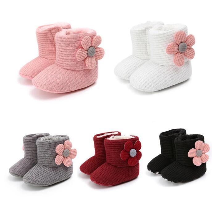 Теплые новорожденные малыши вязаные сапоги зимние первые ходунки Baby Girls Boys Boash Shoes мягкий подошвой меховой снежный предыдущий довоевые пинетки на 0-18 м