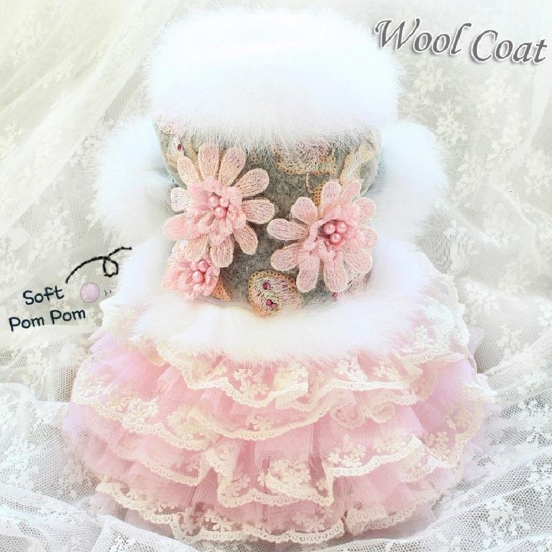 Envío gratis ropa para perros vestidos de perro de mascota abrigo de perro falda hecha a mano noble gris flor de gato ropa de invierno caniche maltés