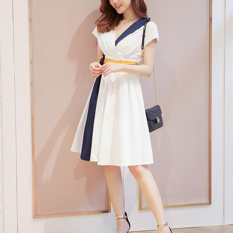 2020 лета соответствия нового стиля талия тонкого а-линия юбка модного платье пригородного v шеи цвет с коротким рукавом платье