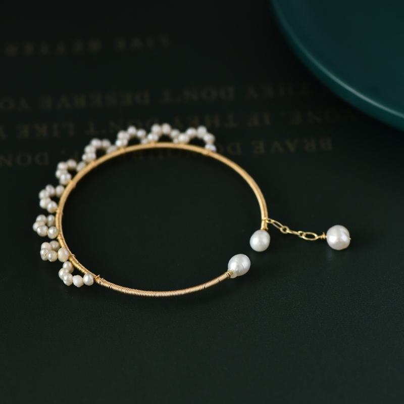 Violet réelle eau douce Perles Cuff BangleBrace pour les amateurs d'engagement Femmes Filles Cadeaux Mignon Bijoux