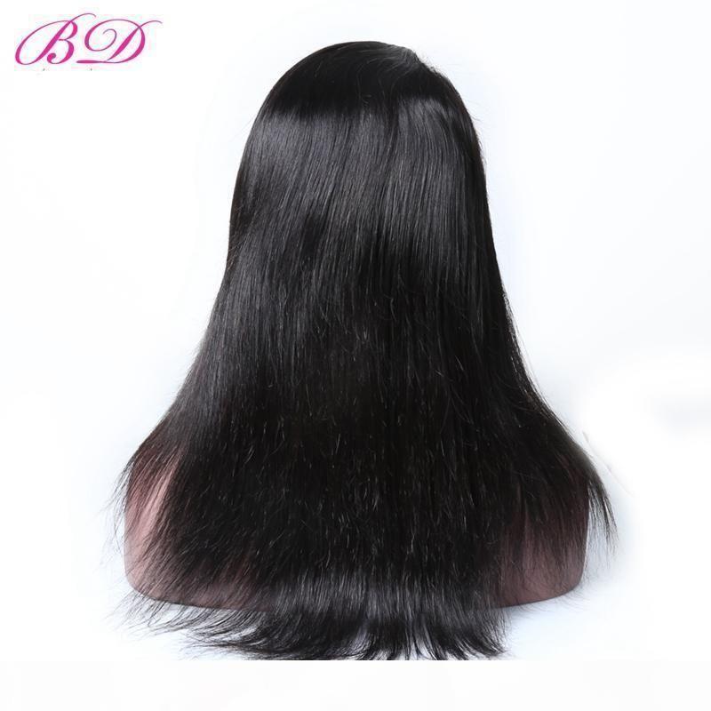BD Silk 360 полного шнурок человеческих волос Парики Бразильской Straight Virgin Hair Natural Color кутикула выравнивание волосы