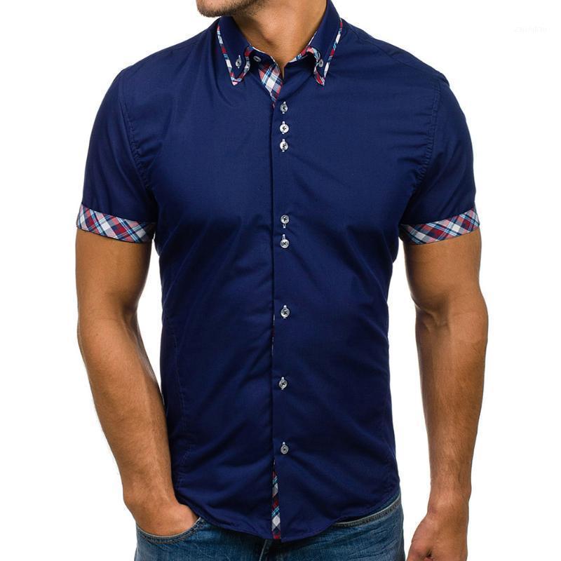 Homens de verão camisa clássico xadrez sólido manga curta vestido camisas menores colarinho casual camisa casual manga curta 1