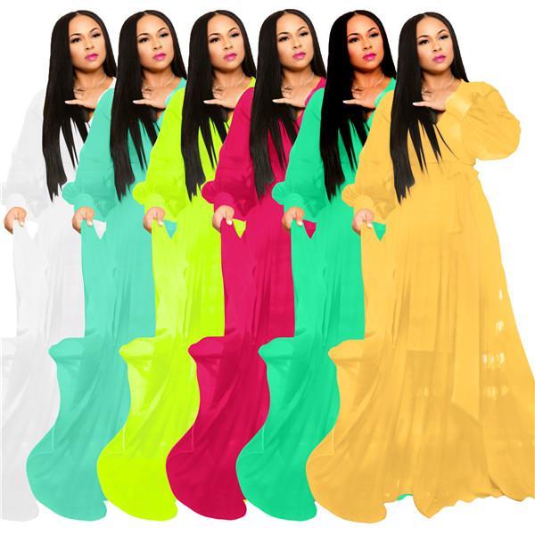 إمرأة الشيفون فساتين طويلة مثير الخامس الرقبة طويلة الأكمام البلوز اللباس ماكسي فستان بلون موضة أنيقة النساء عطلة اللباس