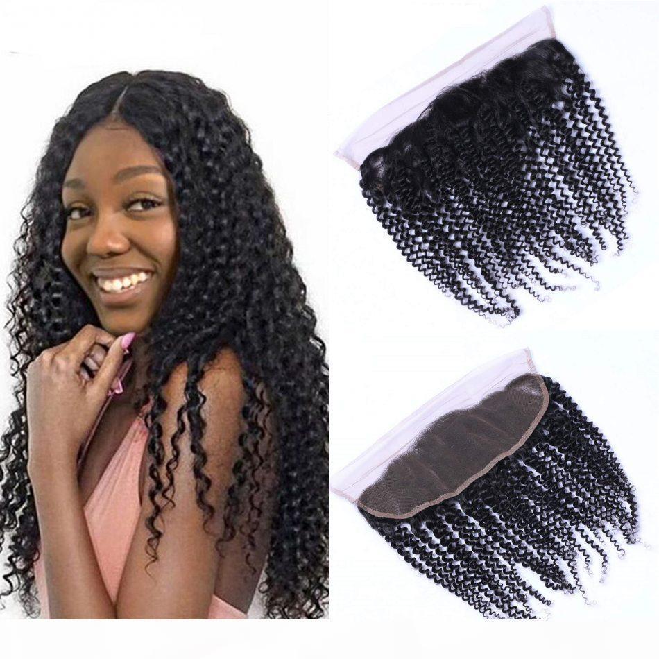 Malaisienne Kinky Curly Cheveux Dentelle Frontal Fermeture 13 * 4 avec bébé cheveux couleur Nature 8-18 pouces Virgin Hair Extensions