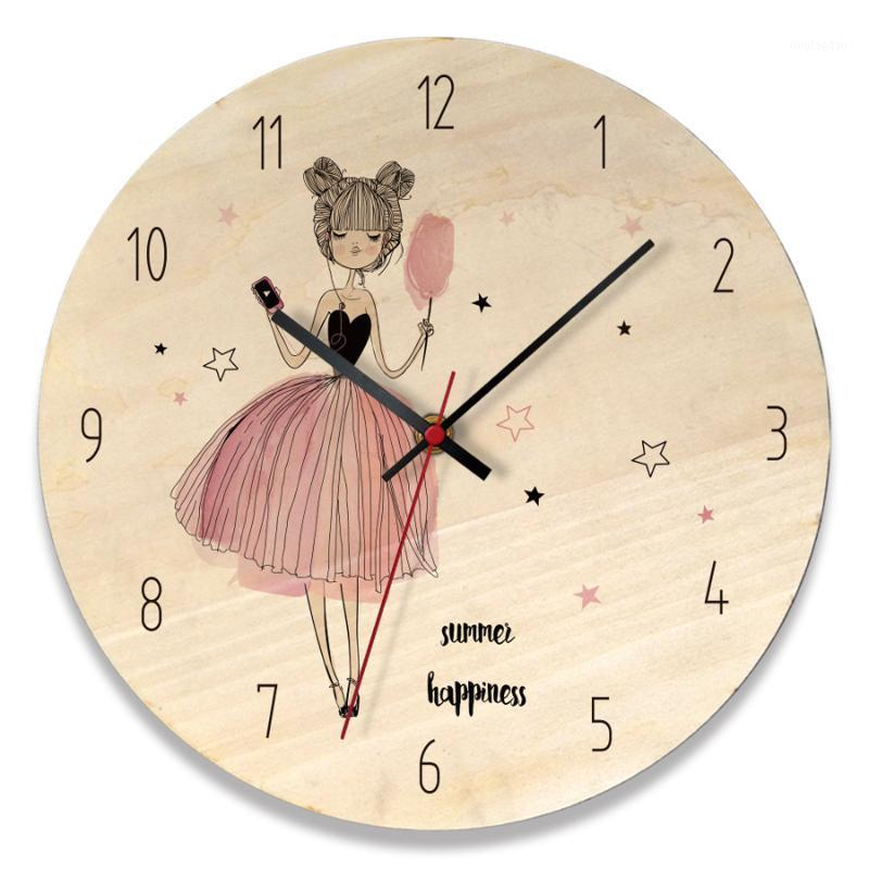 Настенные часы Nordic деревянные часы современный дизайн 3D украшения девушка спальня милый мультфильм часы украшения дома1